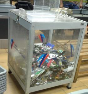 A caixa receptora dos itens proibidos a bordo