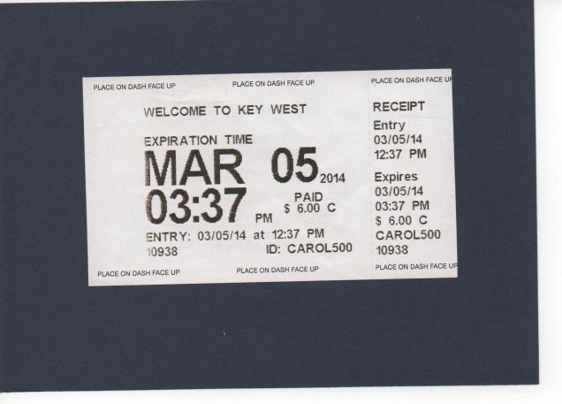 bilhete do parkmeter de Key West