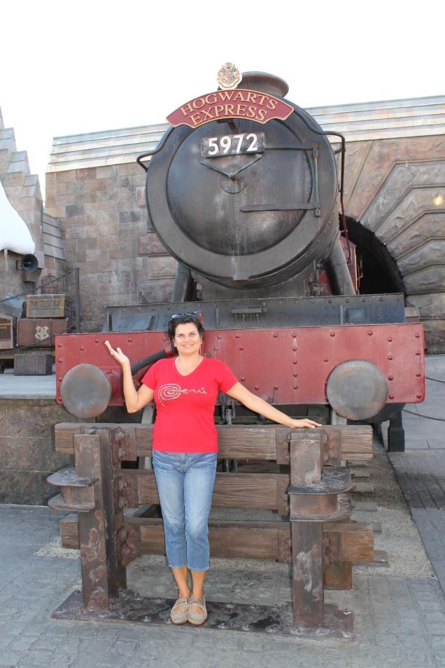 O Hogwarts Express em Hogsmeade, quer dizer, na Universal em Orlando