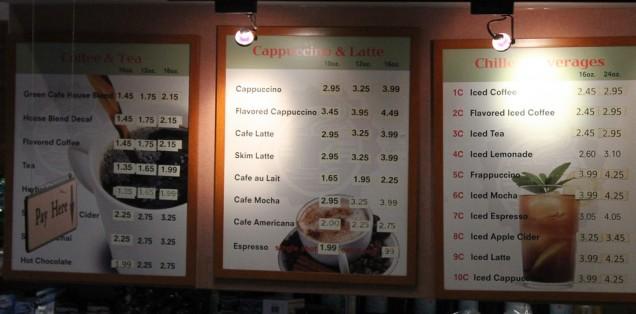 Os preços do Green Cafe
