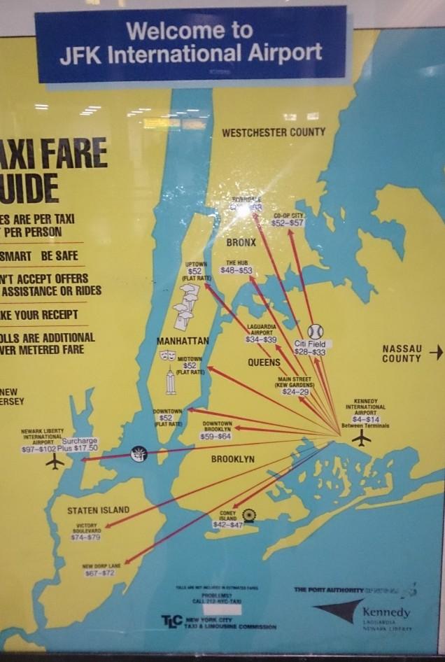 taxi em Nova Iorque do aeroporto a Manhattan