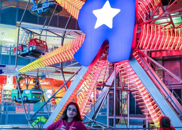 A roda gigante dentro da loja da Toys R us