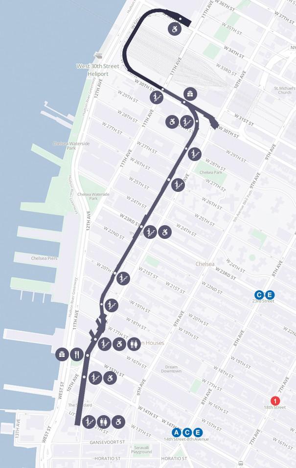 O mapa do High Line e os acessos