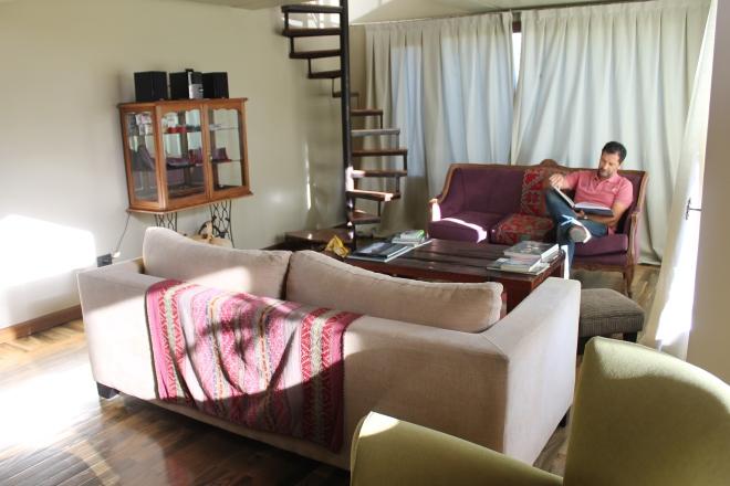 A sala de convivência do Madre Tierra Patagonia