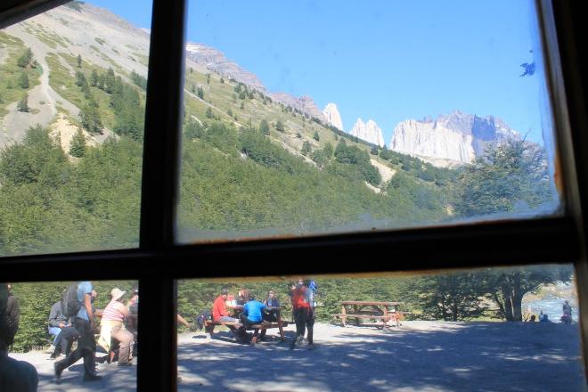 A vista da sala do Refúgio Chileno