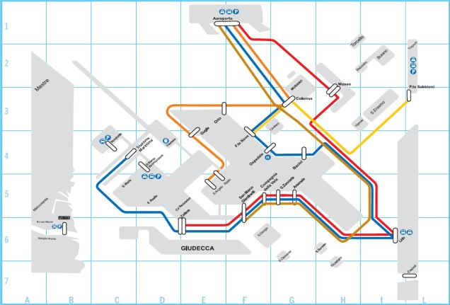 As linhas de transporte público que servem Veneza