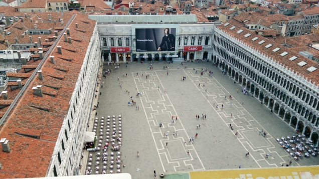Vista da Praça São Marcos mais vazia, do alto do Campanário