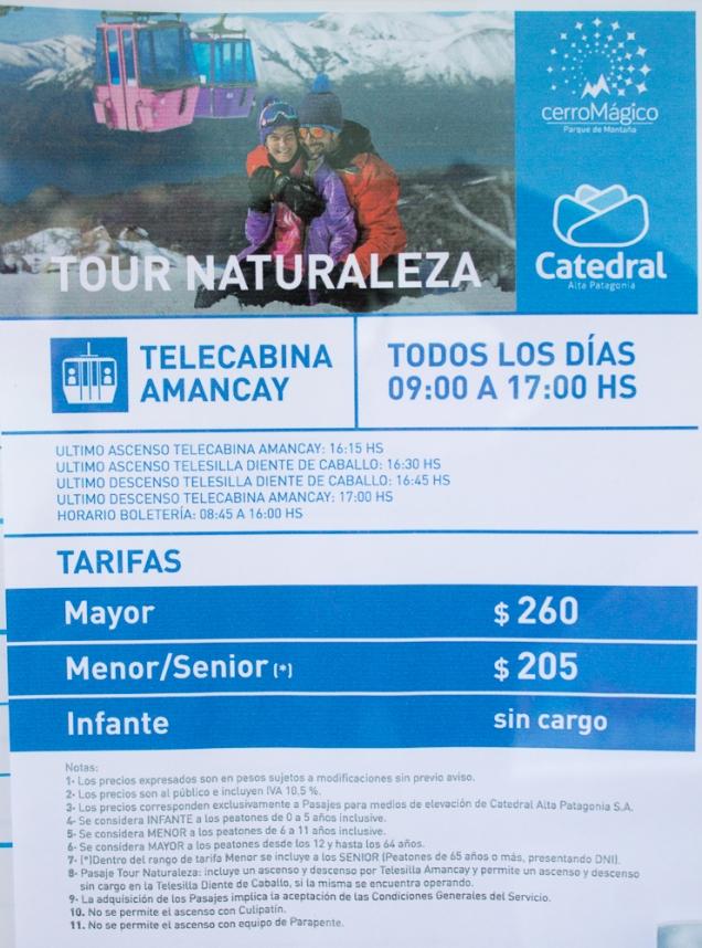 preços passeios Bariloche