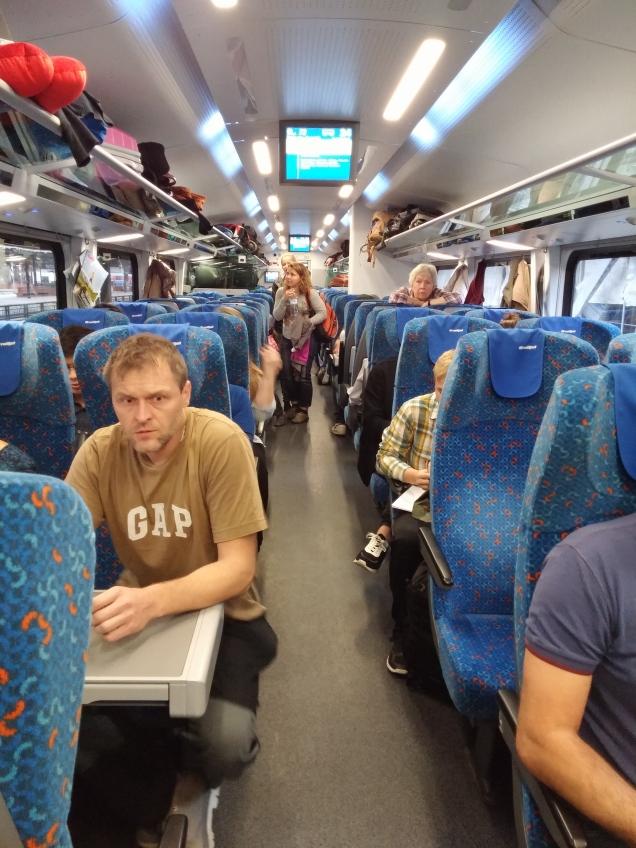 Interior do trem de Praga a Viena