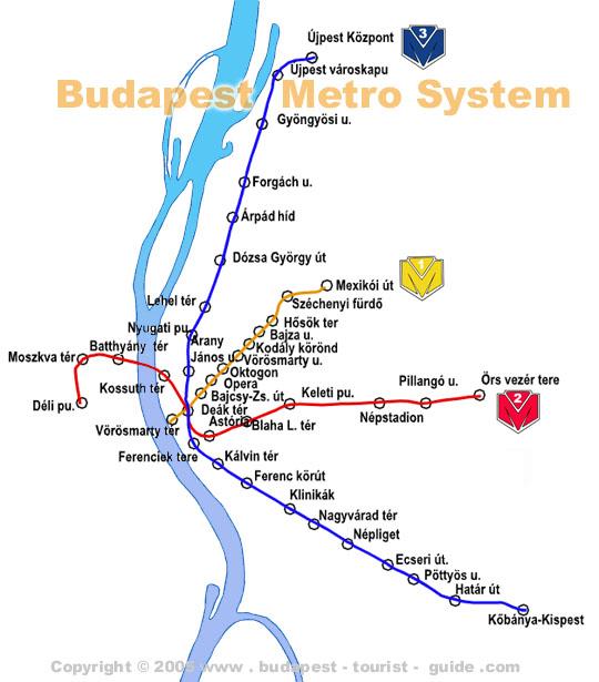 O mapa das linhas de Metrô de Budapeste