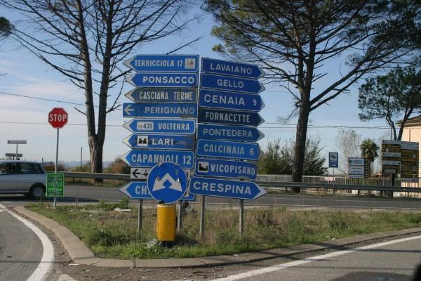 placas de trânsito na Itália