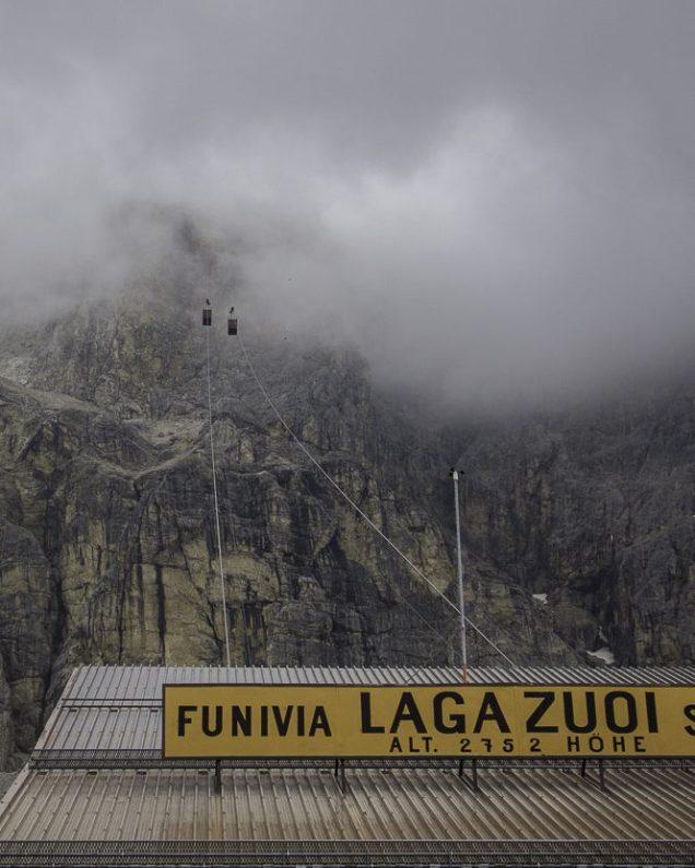 O teleférico em Falzarego, que sobe até o Rifugio Lagzuoi