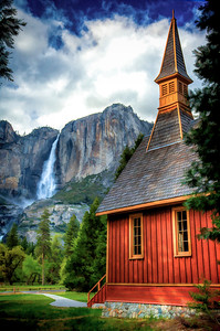 Chapel with Yosemite Falls-S