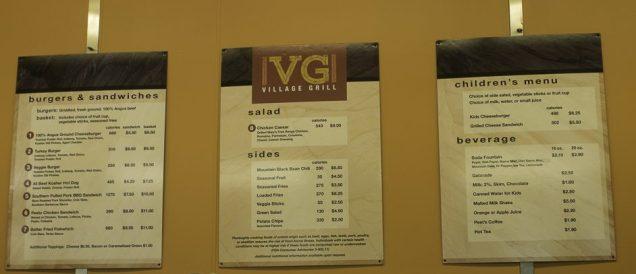 Cardápio do Village Grill, na Vila Yosemite