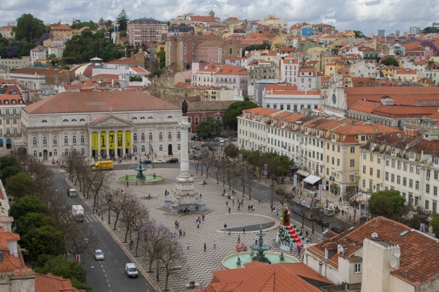A Praça do Rossio vista do Elevador