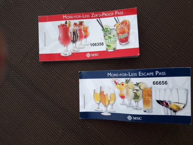 bebidas inclusas no cruzeiro navio