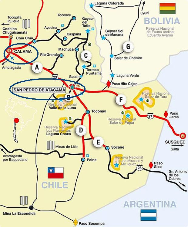 mapa de San Pedro de Atacama