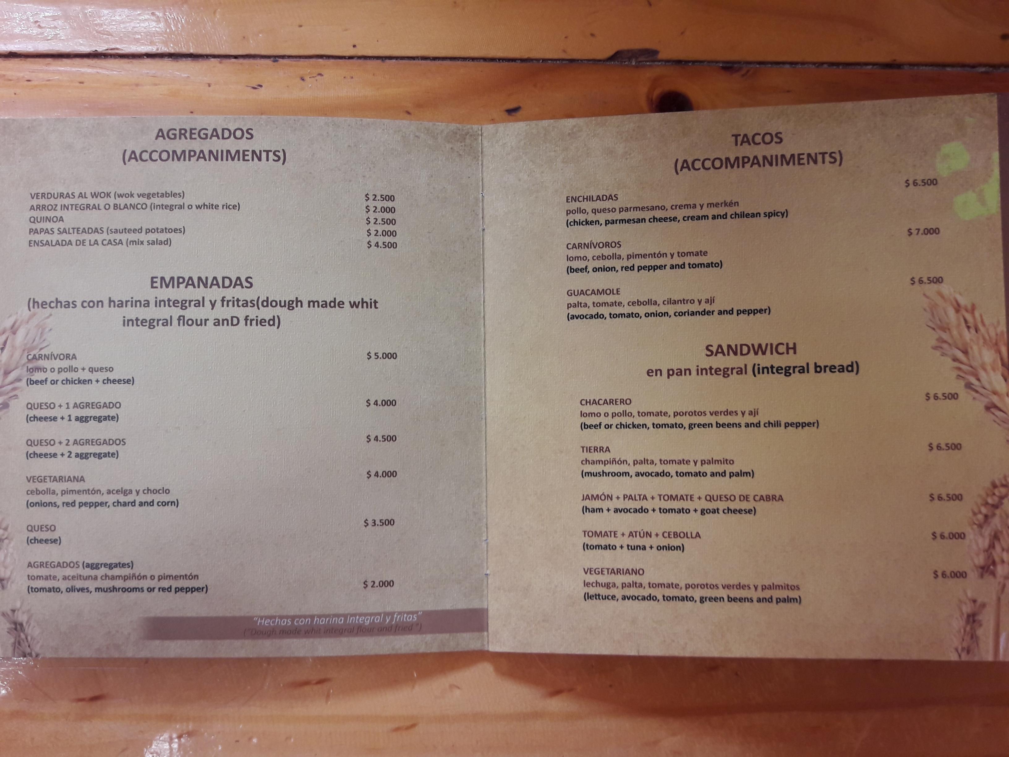 preço comida no Atacama