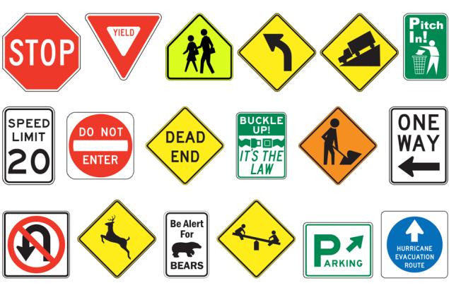 placas sinais de trânsito Califórnia