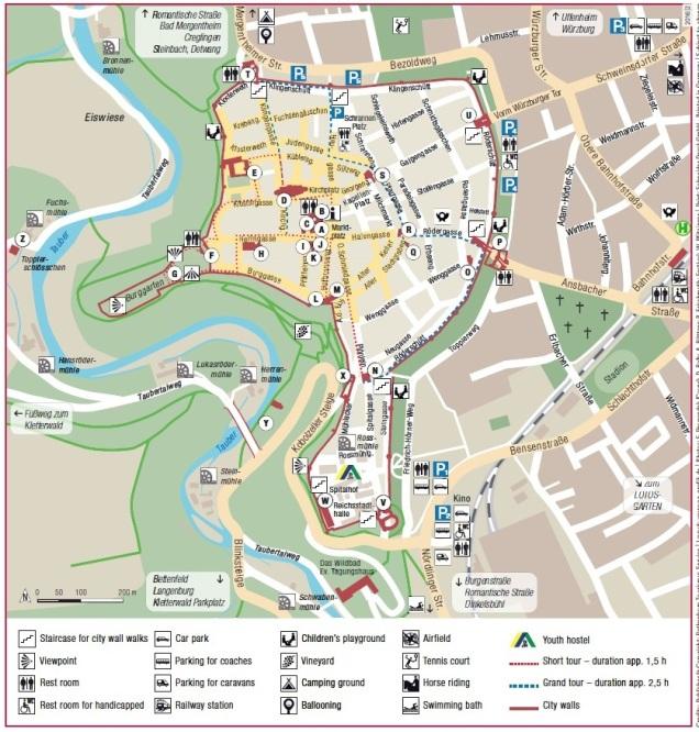 Rothenburg ob der Tauber Alemanha mapa