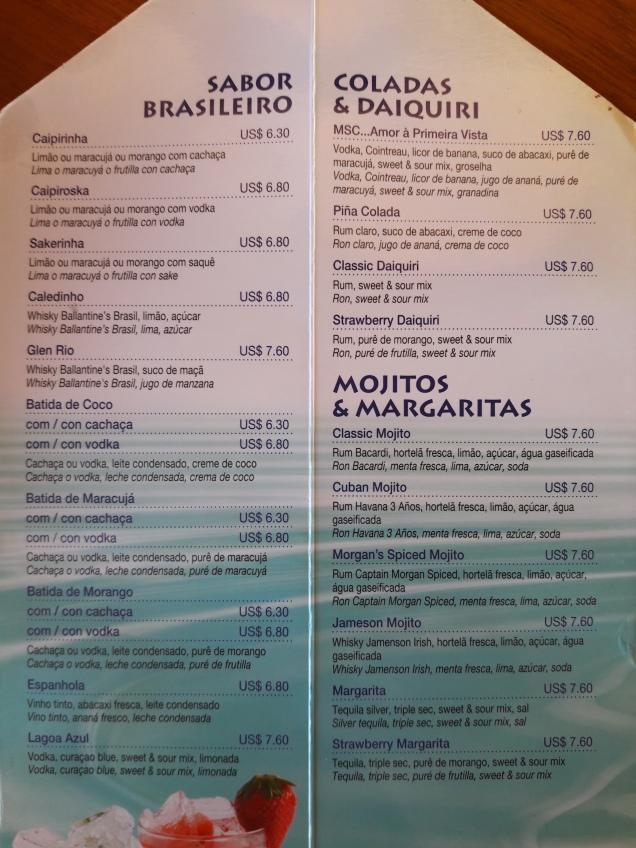 cruzeiro preços bebidas