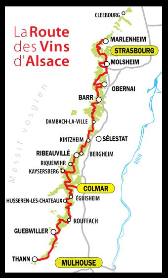 mapa rota do vinho Alsacia