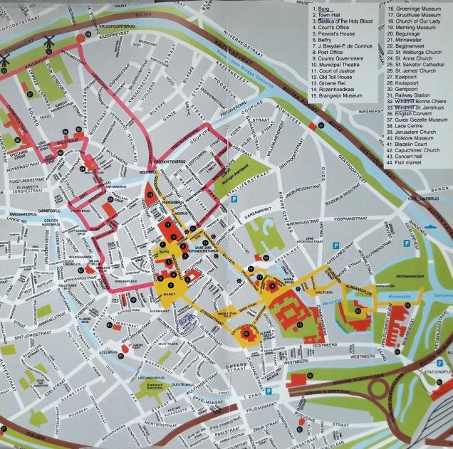 Bruges itinerário mapa roteiro