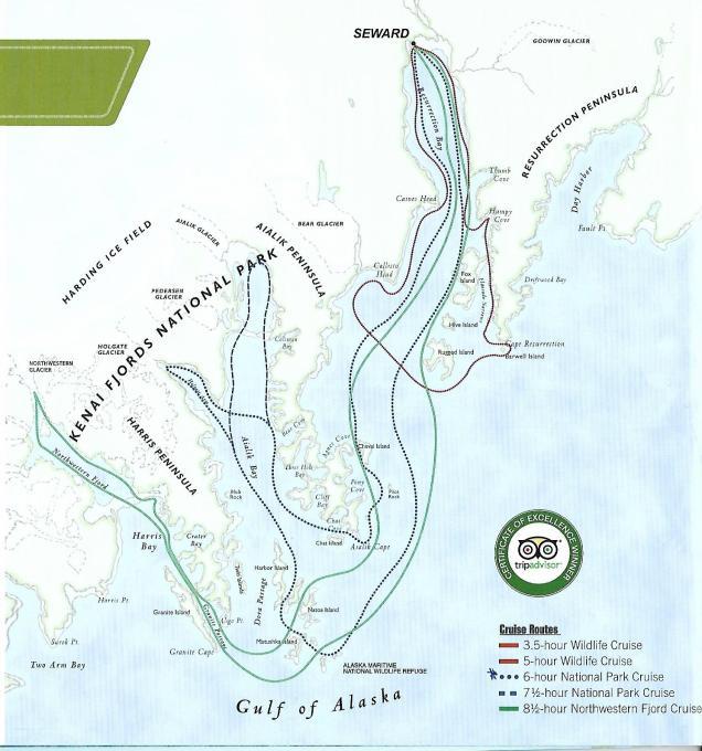 Seward cruzeiro Alasca rotas